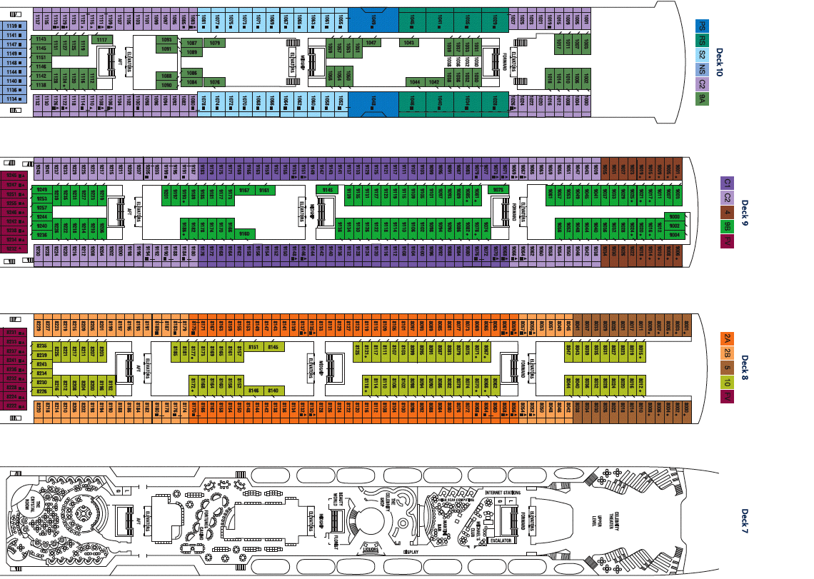 Celebrity Century Deck Plan Vacationsbysea - Celebrity reflection deck plan