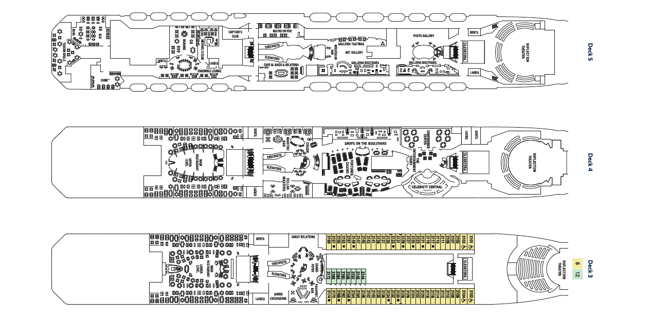 Celebrity Reflection Deck Plan Vacationsbysea - Celebrity reflection deck plan